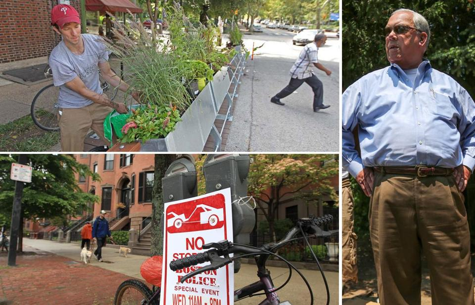 Clockwise from top left: No parking signs in the South End; Mayor Menino; and a 'parklet' in Philadelphia.