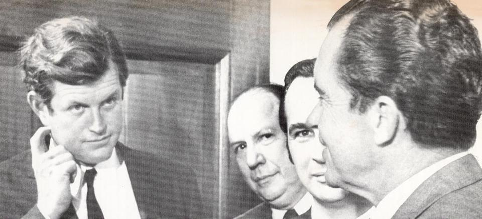 Ted Kennedy, left, speaks with President Nixon, far right, in September 1969.