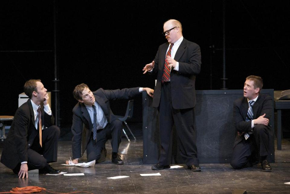 "From left, Jason Bohon, Andrew Grusetskie, Michael F. Toomey, and Greg Webster in Split Knuckle Theatre's ""Endurance.''"