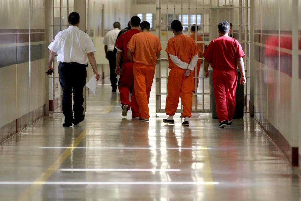 Detainees at Stewart Detention Center in Lumpkin, Ga, were escorted through a corridor.