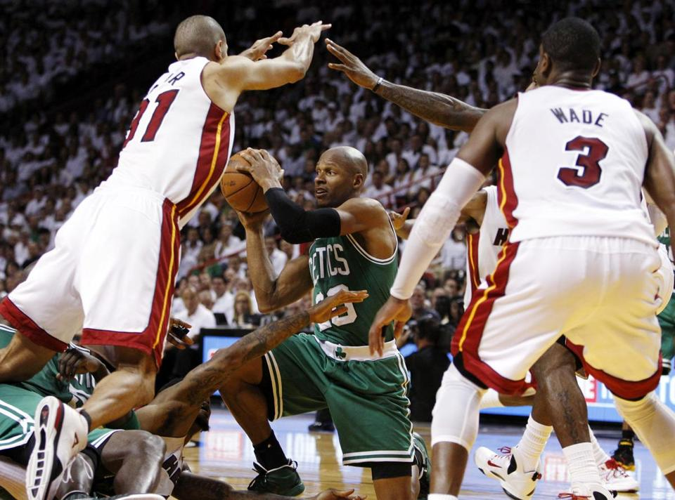 Ray Allen looked for the pass in Game 5 of the Celtics' Eastern Conference Finals playoff series against Miami.