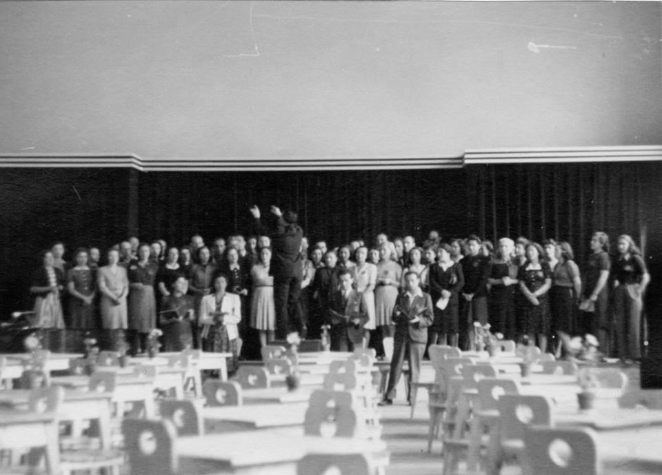 Prisoners of the Terezin concentration camp outside Prague rehearse Verdi's Requiem for an upcoming performance for the Red Cross in the meeting room of the Terezin Town Council in 1943.