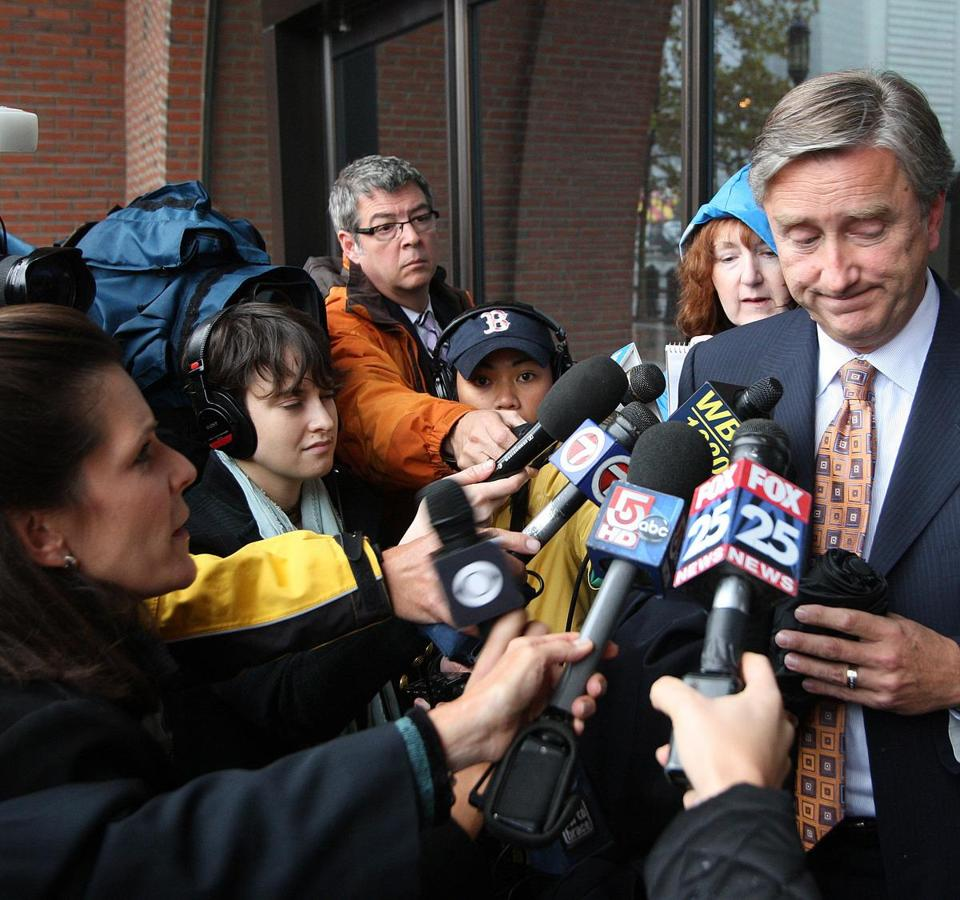 Congressman John F. Tierney spoke with reporters outside of the John Joseph Moakley United States Courthouse on October 6th, 2010, where he had come to support his wife Patrice.