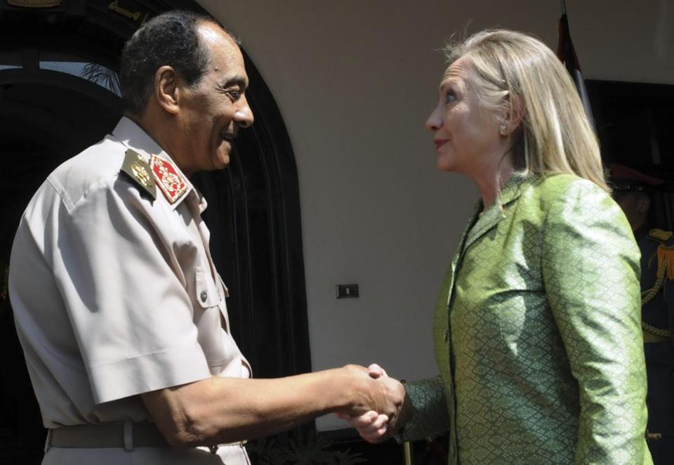 Field Marshal Hussein Tantawi made the tough comments only hours after he met with Secretary of State Hillary Rodham Clinton, who urged him to work with President Mohammed Morsi of the Brotherhood on a full transition to civilian rule.