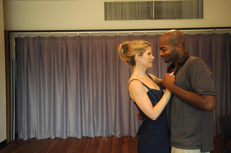 "Kelli O'Hara, as Cathy, and Brandon Victor Dixon, as Raymond, rehearse a scene from ""Far From Heaven,'' a new musical adapted from the 2002 film."