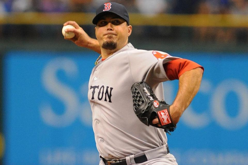 Josh Beckett gave up three runs to the Rays in the first inning, but he shut them out in his next five frames.