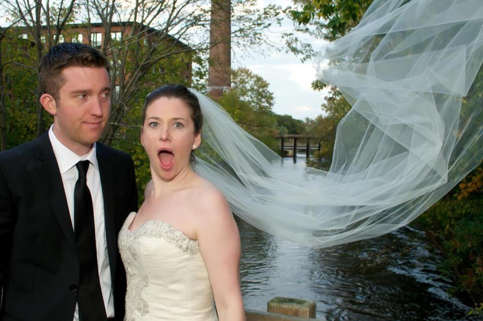 Sara Faith Alterman (the author of this piece) and her husband, Sam Hawes, on their windy wedding day.