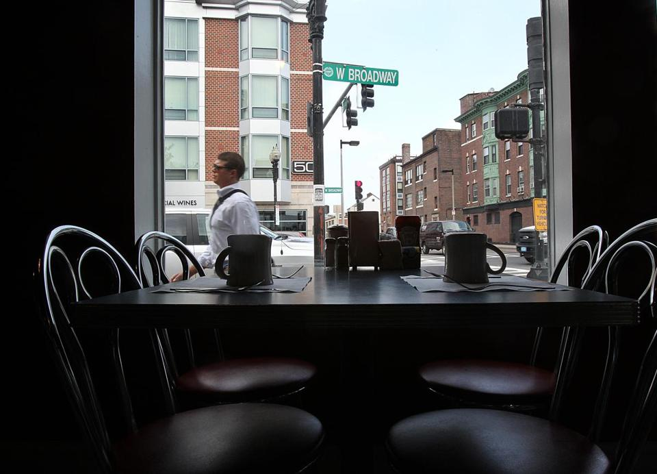 Mul's Diner provides a front-row seat to a changing South Boston. One arrival is the 139-unit apartment complex 50 West Broadway, opened in 2010.