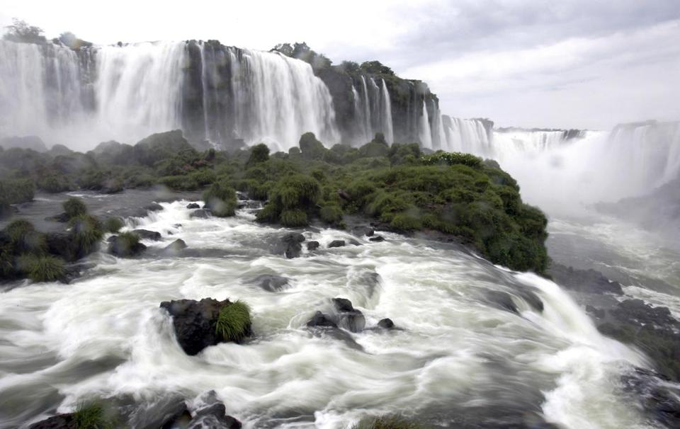 Iguazu Falls, on the border of Argentina and Brazil.