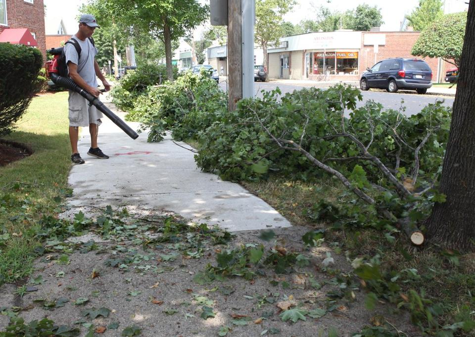 A landscaper blew away debris with leaf blower last July.