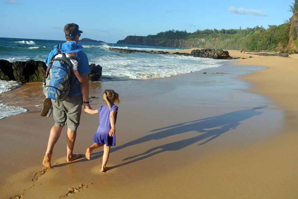Secret Beach near Kilauea is an inviting spot for families.