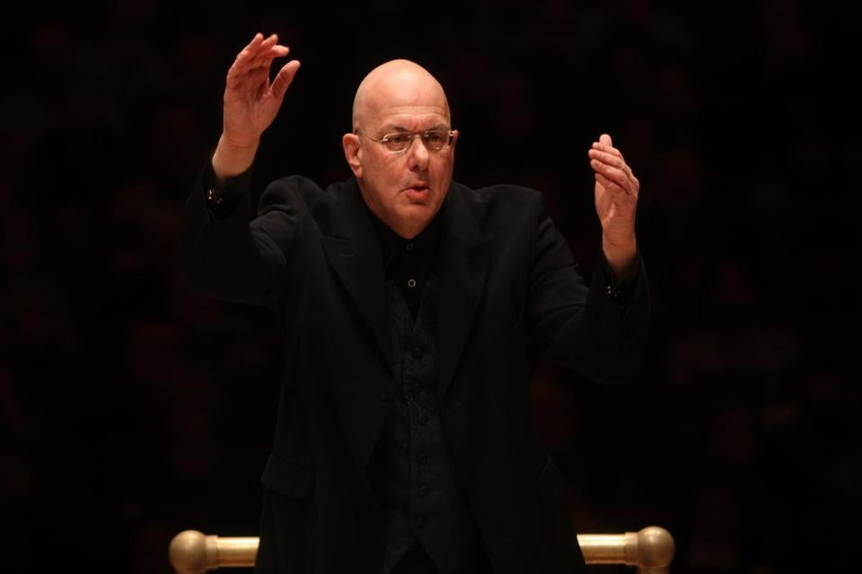 Leon Botstein is pictured leading the American Symphony Orchestra earlier this year.