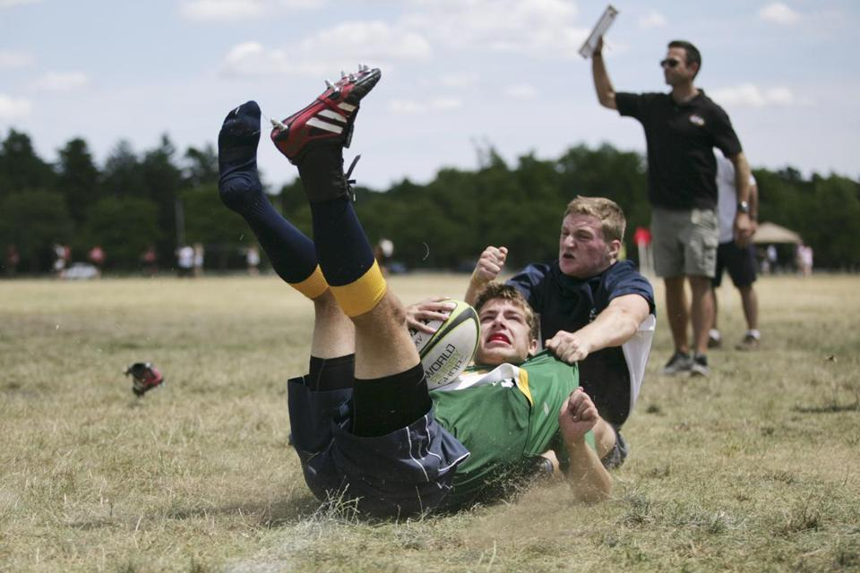 Jack Viens A U17 Boston Irish Wolfhounds Player Is Tackled During Match Against