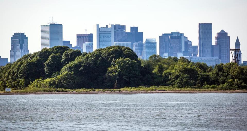 A view of the Boston skyline over Thompson Island.