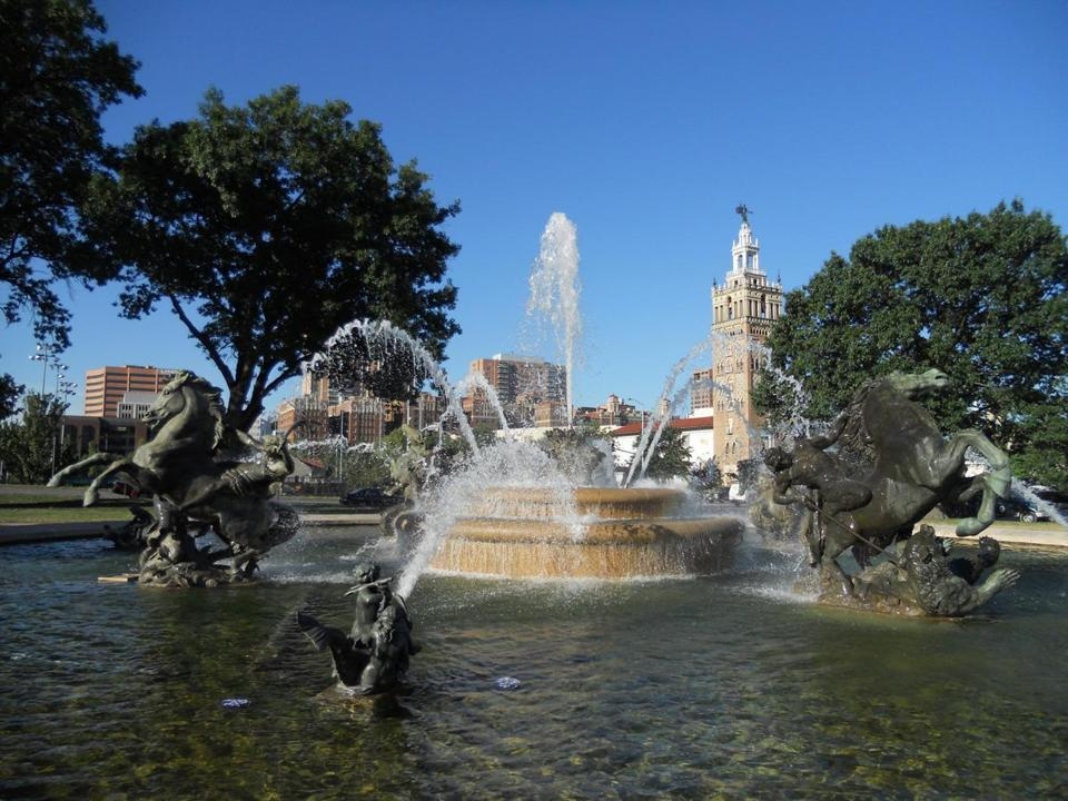In a city with nearly 200 fountains, the J.C. Nichols Memorial Fountain's cast bronze figures were created in 1910 for a Long Island, N.Y., mansion garden. Discovered in a salvage yard around 1951, the fountain was restored and dedicated in Kansas City in 1960.
