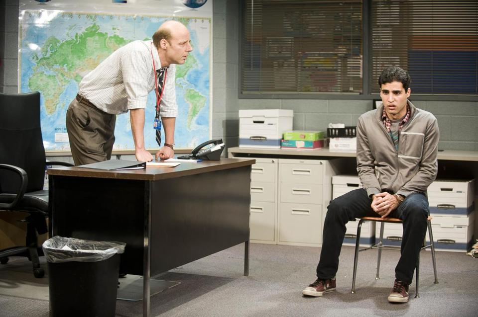 "Remi Sandri (left) as the vice principal and Babak Tafti as student Khadim in Barrington Stage's ""The North Pool."""