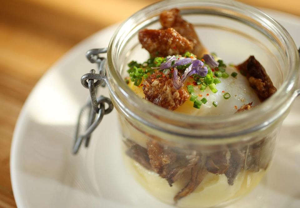 Egg in a jar: potato puree, hen-of-the-woods mushrooms, duck eggs, and crisp duck skin.