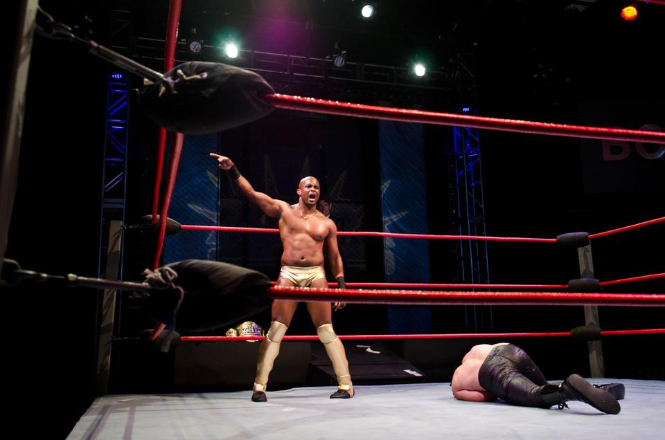 "Chris Leon in the title role in the Company One production of ""The Elaborate Entrance of Chad Deity,'' set in the world of professional wrestling."