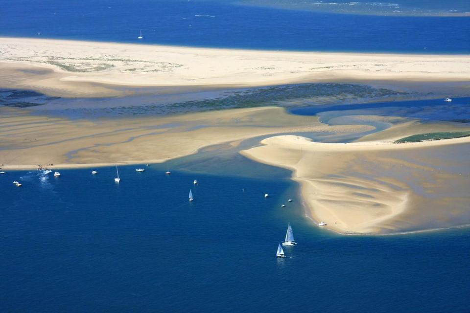 The Arguin sandbar at the foot of the Dune of Pilat, Europe's highest sand dune.