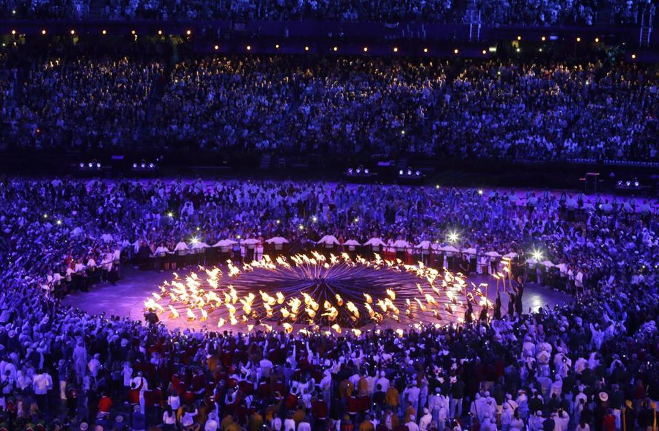The Olympic cauldron is lit during the Danny Boyle-directed Opening Ceremony for the London Games.