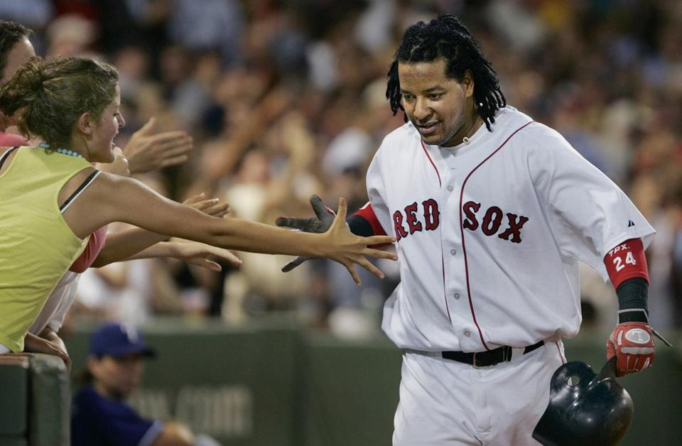 Manny Ramirez talked back to the dugout after hitting a home run in 2005.