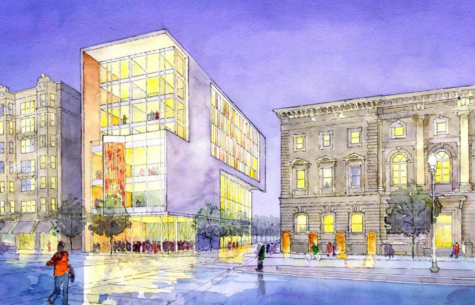A new seven-story learning center for the New England Conservatory on Huntington Avenue and Gainsborough Street would include 60 practice rooms and a public jazz cafe.