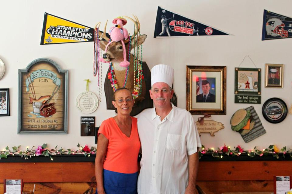 Patty and Joe McKenna, of Patty Joe's Po-Boy Cafe in Abington, feature local and Southern favorites, like (clockwise from right) shrimp po-boy, fried clam strips, and hush puppies.