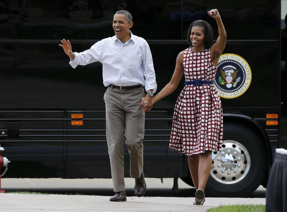 US President Barack Obama and first lady Michelle Obama arrived by bus to speak at a campaign event at the Alliant Energy Amphitheater in Dubuque, Iowa.