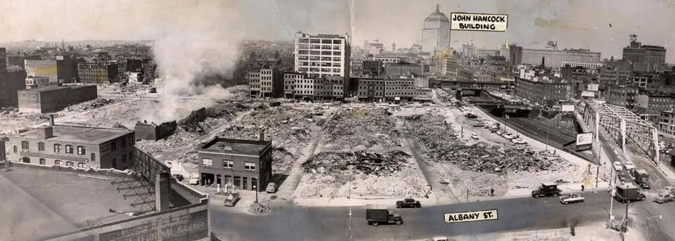 Demolition of the New York Streets in progress in 1956. From left to right, Troy Street, Rochester Street, Genesee Street, Oswego Street, Oneida Street, and Seneca Street.