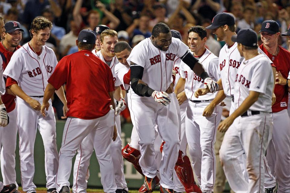 David Ortiz was mobbed after his game-winning home run.