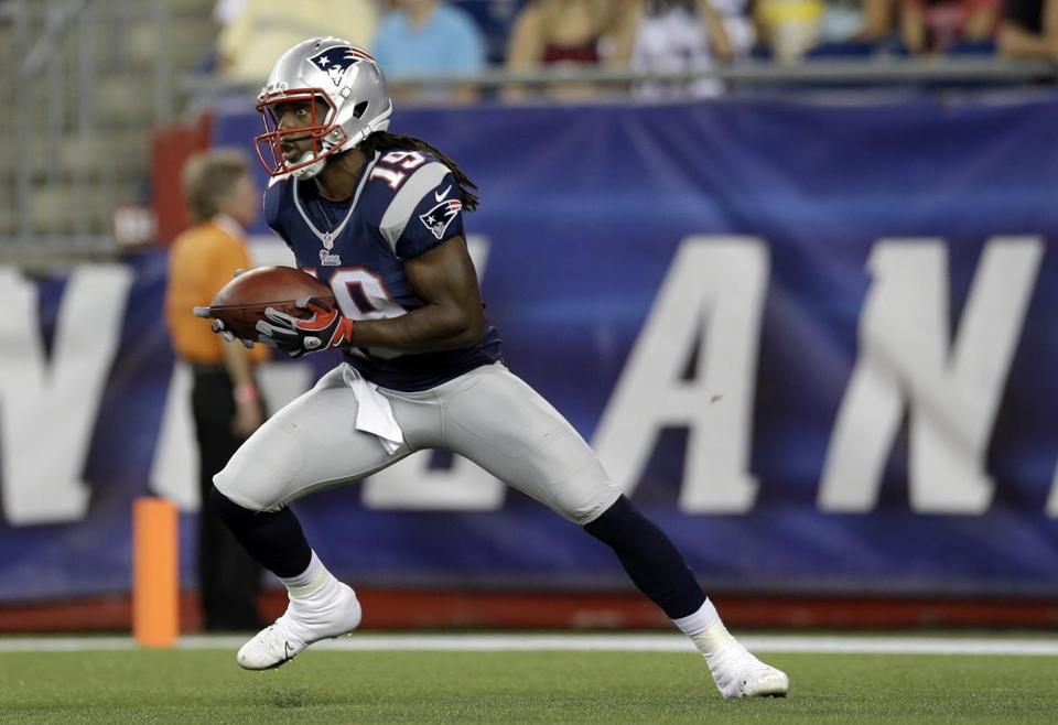Donte' Stallworth is seen during a preseason game Aug. 20 in Foxborough against the Eagles.