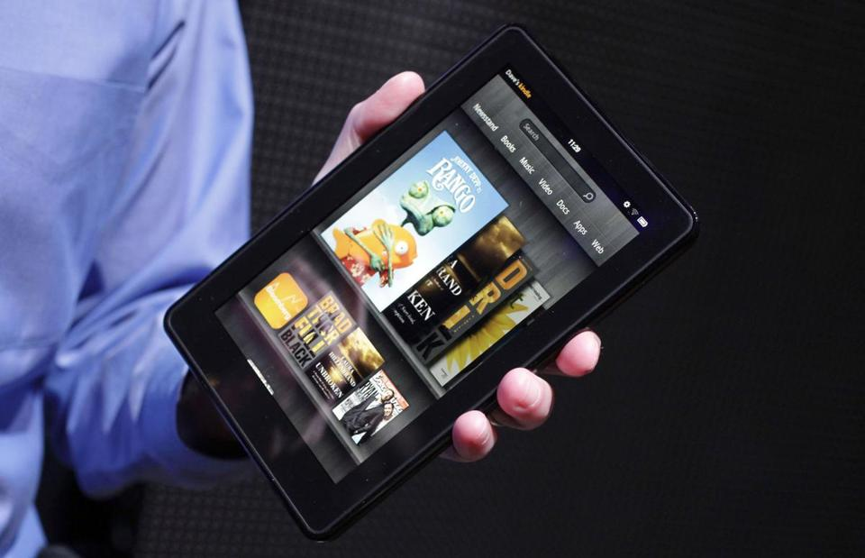 Prices of e-books could be poised to decline by as much as 30 percent. Above, Amazon's Kindle Fire e-reader.