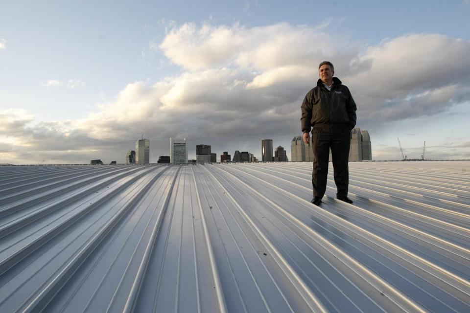 Jim Rooney, the Executive Director of the Massachusetts Convention Center Authority stood atop the roof of the Boston Convention & Exhibition Center.