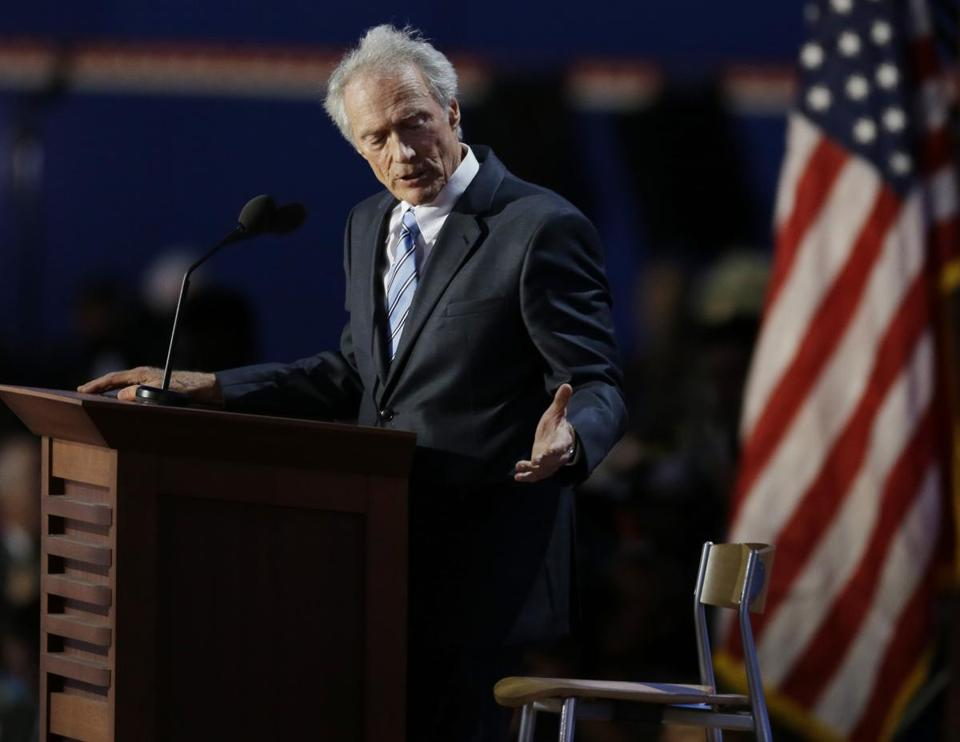 Clint Eastwood spoke to an empty chair while addressing delegates during the Republican National Convention.