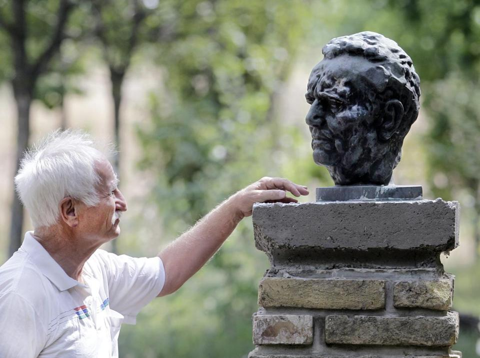 Blasko Gabric, owner of Yugoland theme park in Serbia, admired a bust of former Yugoslav dictator Josip Broz Tito.