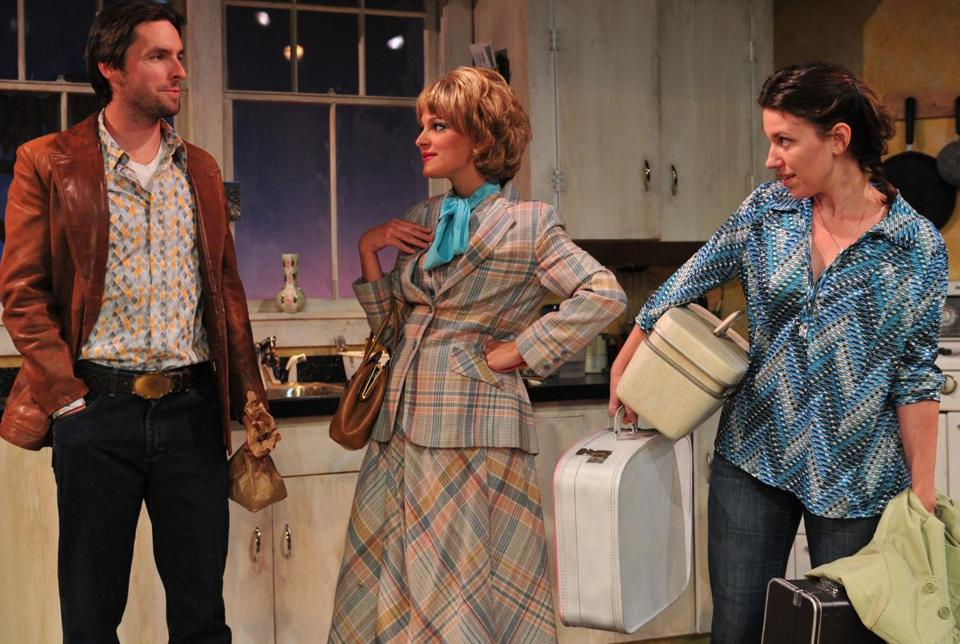 "From left: Liam McNeill, Lenni Kmiec, and Liz Hayes in the Gloucester Stage Company production of ""Crimes of the Heart."""