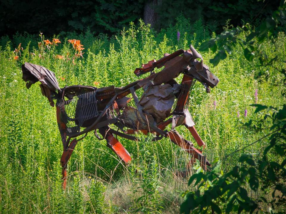"""Gift Horse"" is one of many large sculptures included in Sunday's sculpture walk at Old Frog Pond Farm in Harvard."