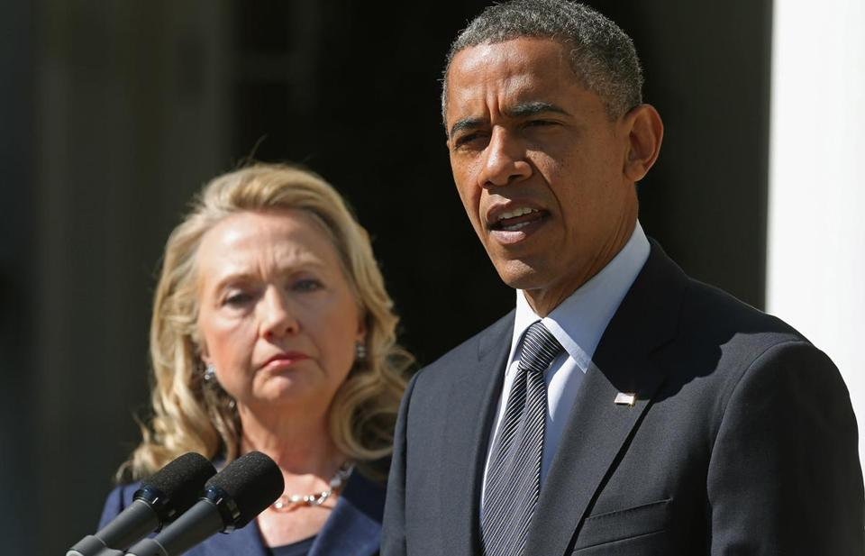 President Obama and then-Secretary of State Hillary Clinton are seen in this Sept. 12, 2012, photo.