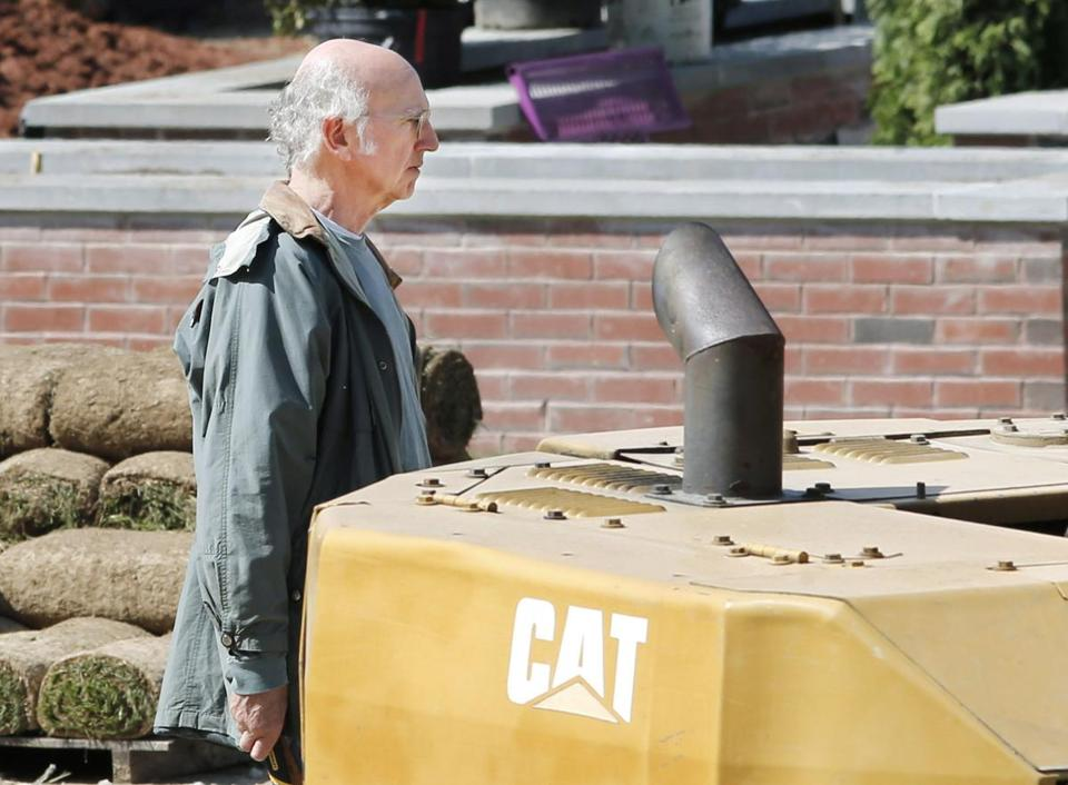 Larry David filming at a construction site in North Andover last month.