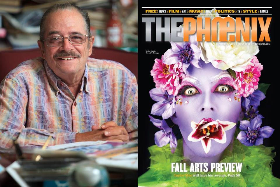 "Boston Phoenix owner and publisher Stephen Mindich (left) and the debut issue of The Phoenix, featuring Taylor Mac, creator of ""The Lily's Revenge.''"
