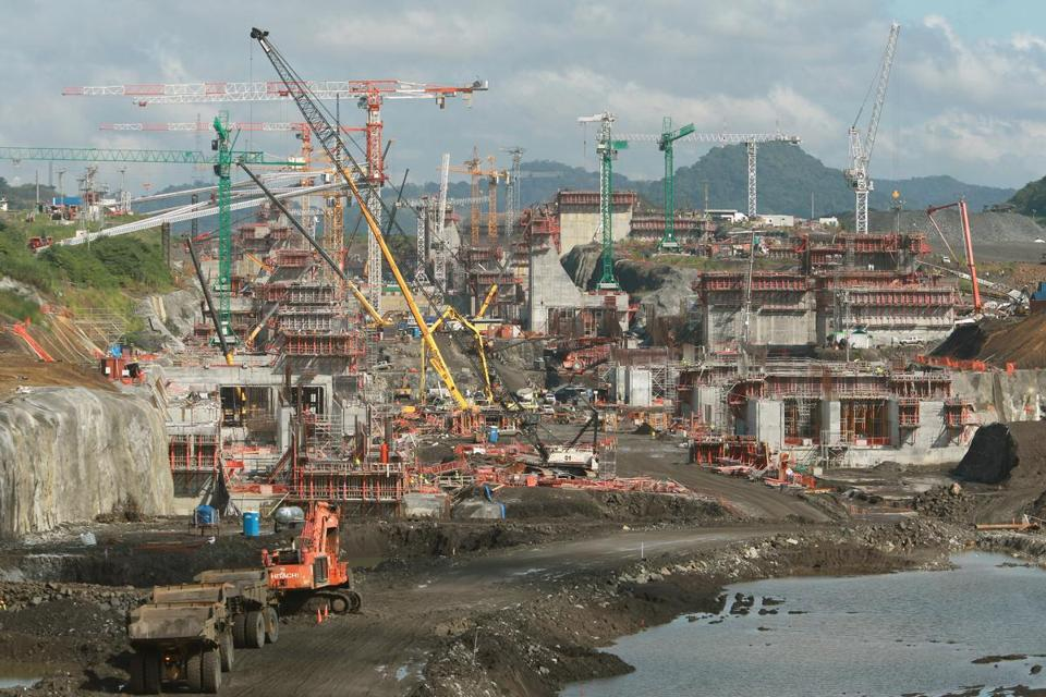 Work continues on the third set of locks during the Panama Canal Expansion project Wednesday.