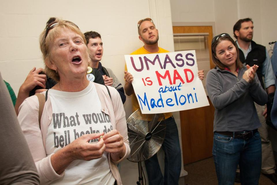 Barbara Madeloni (left) and supporters delivered letters of protest to the UMass dean of education.