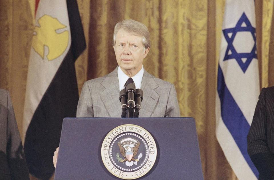 President Jimmy Carter speaks in the East Room of the White House in 1978.