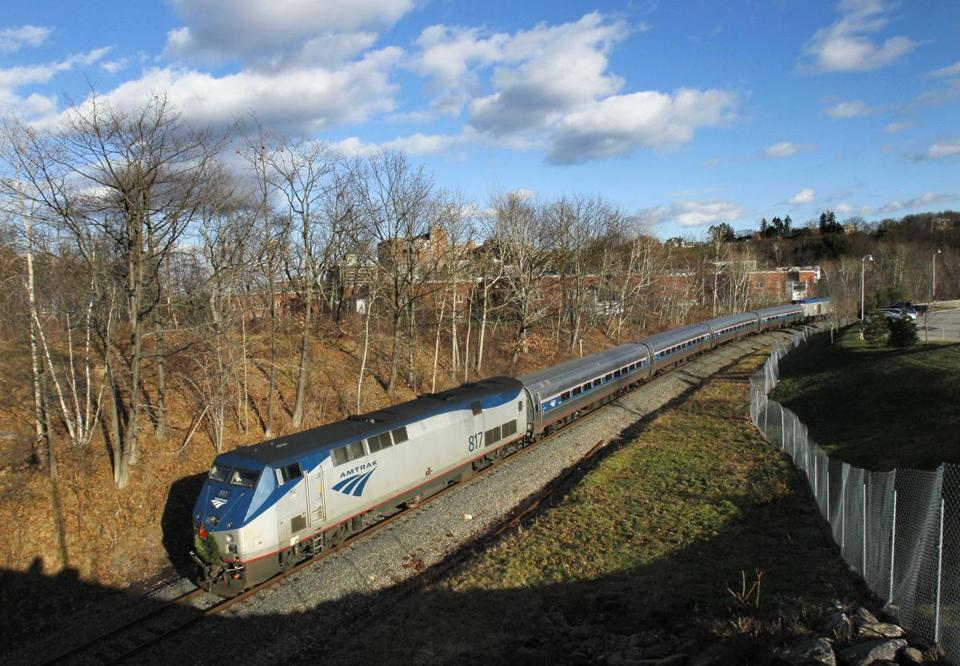 The Amtrak Downeaster traveled through Portland, Maine.