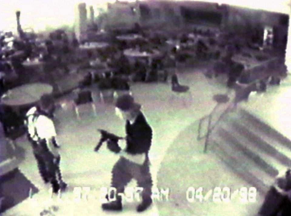 In 1999, students Eric Harris, 18, and Dylan Klebold, 17, opened fire at Columbine High School in Littleton, Colo., killing 12 classmates and a teacher and wounding 26 others before killing themselves in the school's library.