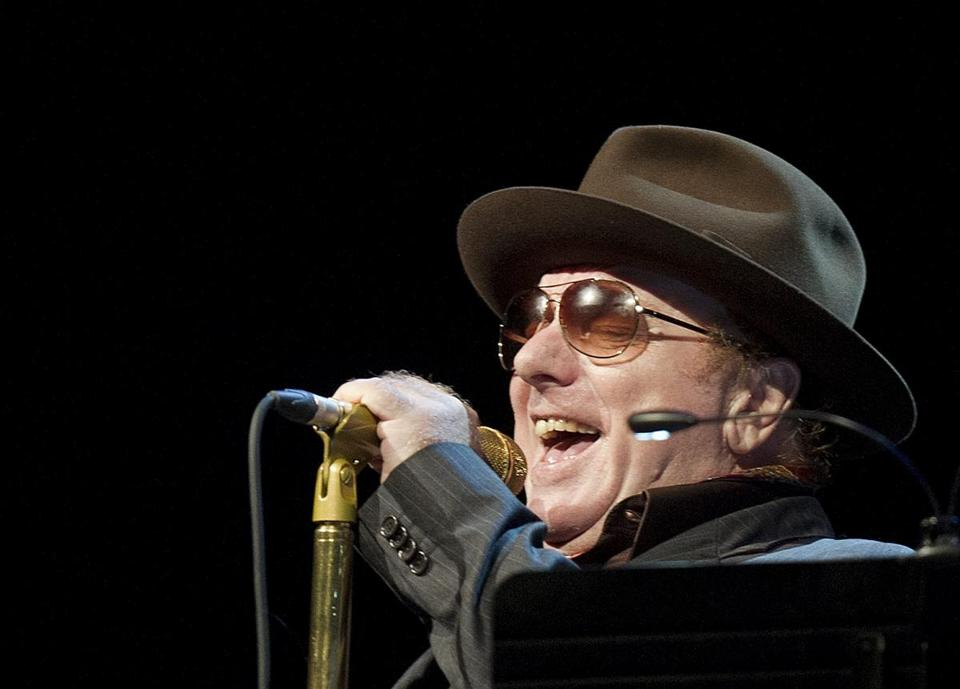 Musician Van Morrison from Northern Ireland performs on the Stravinski Hall stage during the 46th Montreux Jazz Festival, in Montreux, Switzerland, Saturday, July 7, 2012. (AP Photo/Keystone/Jean-Christophe Bott)