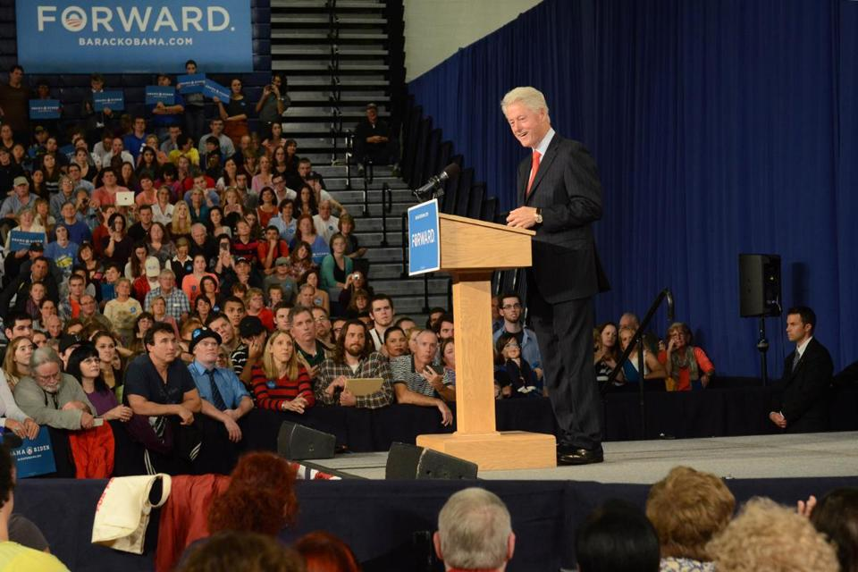 Former President Bill Clinton spoke at the University of New Hampshire.