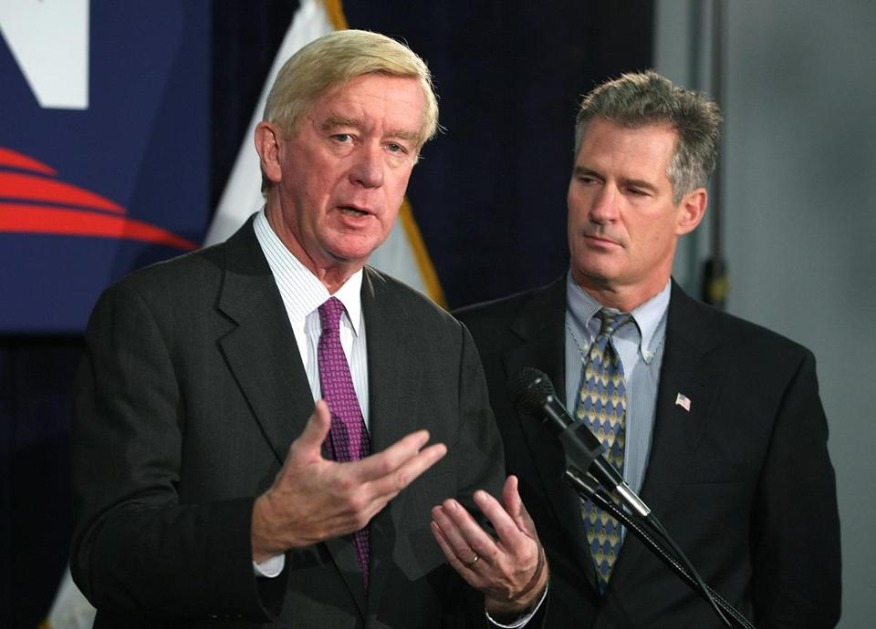 Former Governor William Weld endorsed Scott Brown in his Senate battle with Elizabeth Warren.