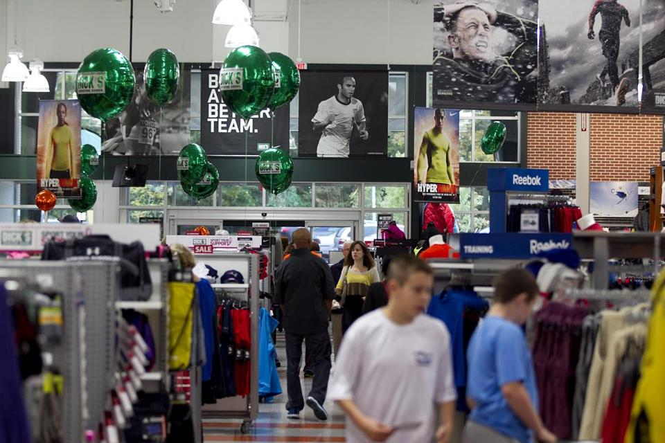 Almost 30 percent of survey participants bought items at Dick's Sporting Goods or Sports Authority.