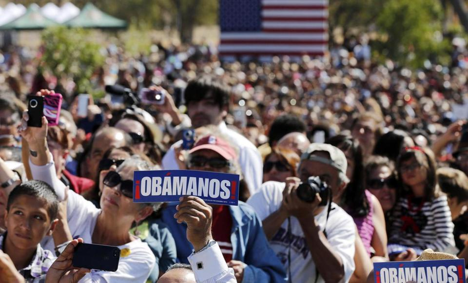 A crowd watched President Obama speak at the Cesar E. Chavez National Monument in Keene, Calif.